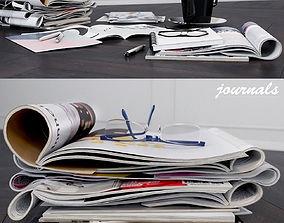 magazines decorative set cover decor coffee 3D
