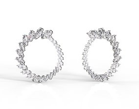 Round Earings with marquises and round gems 3D print model