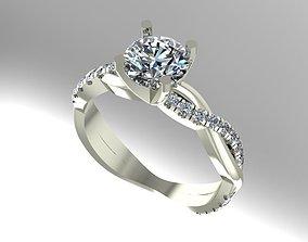 Twist diamond engagement ring 3D printable model
