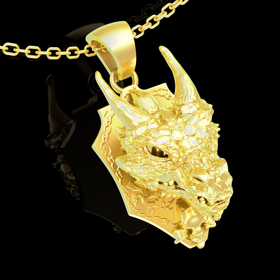 Dragon Head pendant jewelry gold necklace medallion 3D print model