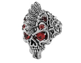 Badass Gothic Punk Skull Ring With 3D printable model 3