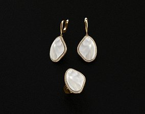Ring and Earrings malachite 3D print model