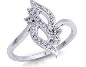 white engagement Woman Diamond Ring 3d Model print