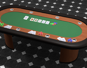 3D asset game-ready Poker table