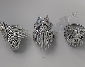 Amazing art Davy Jones ring 3d model pirate-jewel