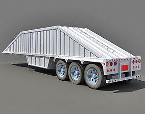White Bottom Dump Truck Trailer 3D