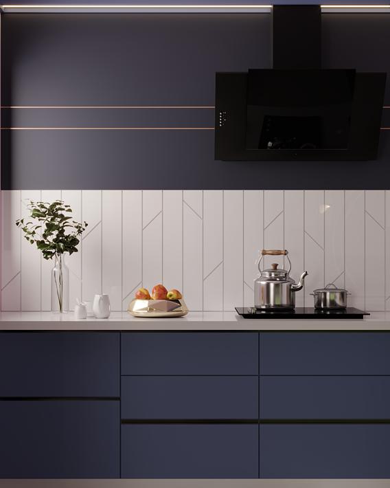 blue kitchen scene