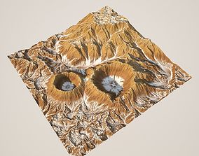 3D Crater Mountain And Texture - High Poly