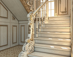 classic staircase in the interior 3D