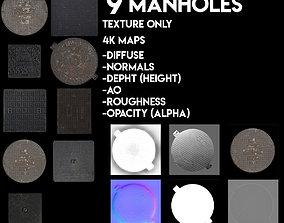 9 Manholes Textures Pack 3D model