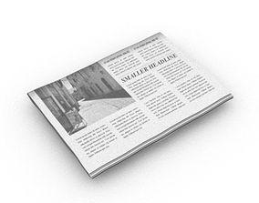 folded editable newspaper 3D