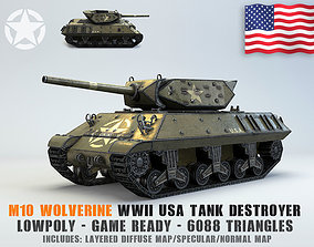 Low Poly M10 Wolverine tank destroyer 3D asset