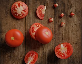 game-ready Low Poly Tomato photorealistic 3d model scene