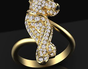panther ring pendant silver 3D print model