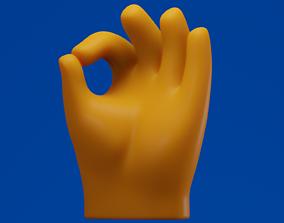 Ok Hand Finger Emoji 3D model