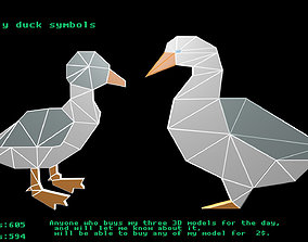 Low poly duck symbols 3D model