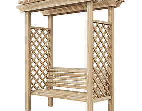 3D model Pergola gazebo with a bench