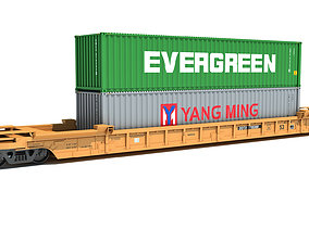 3D Train Car with Containers