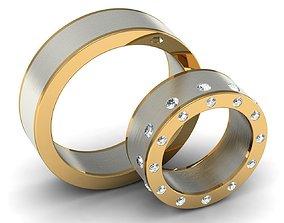 Wedding rings couple 002 3D print model