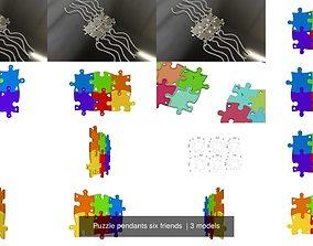 Puzzle pendants six friends 3D model