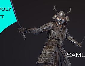 Samurai low-poly models 3D asset