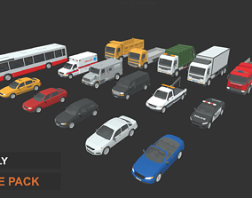 3D asset rigged Low Poly Vehicles