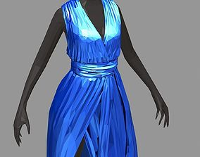 polygonal women summer long blue dress white 3D model 2