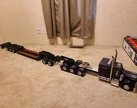 3D print model 1-14 Tamiya Lowboy with Jeep and Equalizer