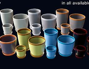 3D model Set of pots for plants of different