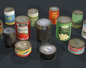 PBR Retro Canned Food 3D model