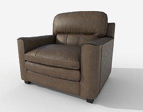 Armchair Gleason Ottoman Sofa 3D model leather