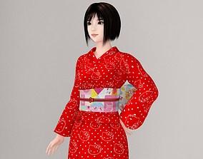 3D woman Satomi in kimono pose 01