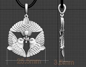 3D printable model bird pendant