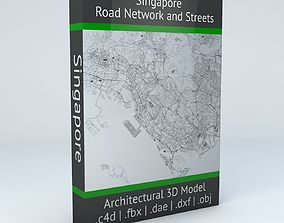 Singapore Road Network and Streets 3D
