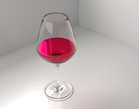 3D Wine Glass 4 with Liquid