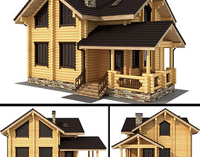 3D Log house - rounded log trumpet