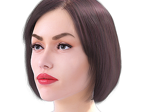Realistic Woman Face with Free Hairstyles 3D model
