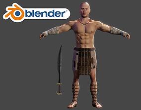 Human Male Warrior Swordsman Blender 3D asset