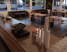 Coffee shop in New York 3D asset