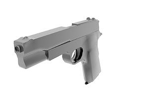 3D asset Low polygon gun