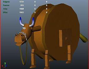 3D asset VR / AR ready Wooden Bull Horse AAA