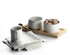 Sugar and Creamer Set on Tray with Cup Towel 3D