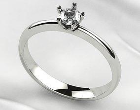 4mm Single Gemstone Gold Ring 3D print model