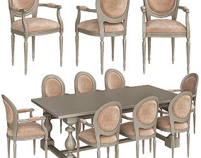 low-poly Monastery Rectangular Dining Table - RH low 2