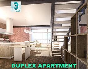 Modern Duplex Apartment Scene - 3DS MAX game-ready