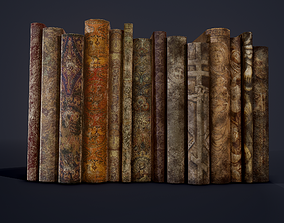 Medieval Books Row 1 Design 1 and 2 3D model PBR