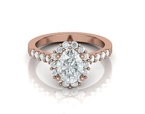 Paradise design Halo ring with 8x6 Oval stone 3D print 1