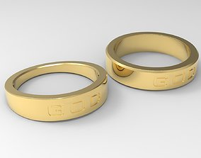 God Couple Ring Gold 3D printable model