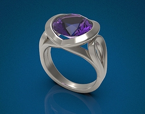 Big gemstone ring 3D print model gold