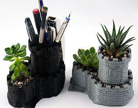 Multipurpose Castle Planter - Tower Pen 3D print model 4